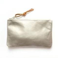 White Gold Leather Pouch : Minimal + Classic