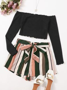 Two Piece Outfit, Cami Tops, Striped Shorts, Bardot, Rib Knit, Cute Outfits, Bell Sleeve Top, Mini Skirts, Lettuce