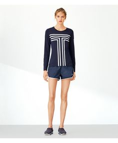 TORY BURCH: Tory Sport Performance Graphic Top - Navy ($110)