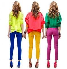 One trend that is huge right now is Colored Jeans... perfect when paired with a neutral lightweight top