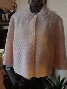VINTAGE 1970s Nanette Undies Co. Quilted Lined Nylon Lace Bed Jacket S/M Pink #Nanette