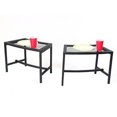 Sunnydaze Black Mesh Patio Side Table 23 x 16 Inch  2 Tables <3 This is an Amazon Associate's Pin. Details on product can be viewed on Amazon website by clicking the VISIT button.