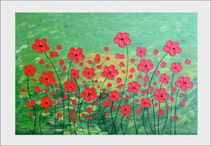Flowers in red  Original abstract painting by beautifuldesign1, $199.00