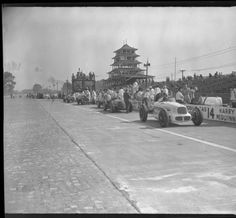 Cars in Pits Before Race, 1946 :: Indianapolis Motor Speedway Collection