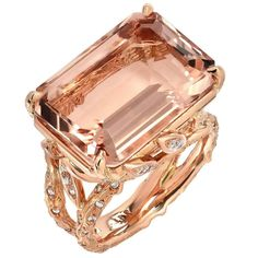 14.49 Carat Emerald Cut Morganite Diamond Rose Gold Ring