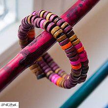 Náramky - dřevěný náramek podzimních barev - 2 otočky - 4405002_