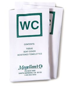 Magellan's WC Kit 10 Pack: An all-in-one kit for restroom needs. Comes in very handy for moments when restrooms are out of supplies and/or are not well maintained. Packing Tips, Travel Packing, Travel Tips, Travel Stuff, Travel Supplies, Find A Job, Travel Light, Travel Accessories