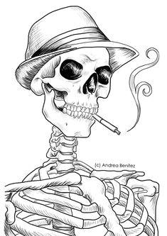 Andrea Benitez Art: Detailed Line Art- Mobster - drawings_pintous Skeleton Drawings, Skeleton Art, Halloween Drawings, Outline Drawings, Tattoo Drawings, Art Drawings, Tattoos, Skull Coloring Pages, Coloring Books