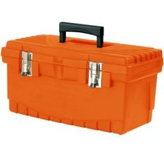 19 In. Plastic Tool Box With Metal Latches And Removable Tool Tray