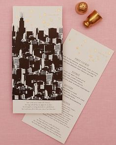 Glamorous Menu Card (MS Weddings)    Gold foil stars brighten up this Chicago skyline design.