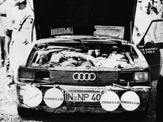 Audi Quattro, '81 Acropolis Rally, Greece. Michèle Mouton & Fabrizia Pons' car. This shot clearly shows the missing head lamps that led to the Stewards excluding Audi from continuing in the rally