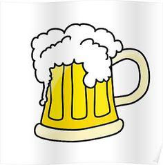 Funny full glass beer cartoon