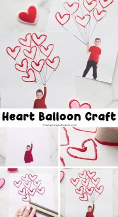 Valentine Heart Balloon Craft - such a fun and easy Valentine's day craft for kids! Perfect for toddlers or preschool too. day crafts for kids toddlers Valentine Heart Balloon Craft Valentines Bricolage, Kinder Valentines, Valentine Crafts For Kids, Valentines Day Activities, Valentine Heart, Valentines Diy, Valentine's Day Crafts For Kids, Toddler Crafts, Preschool Crafts
