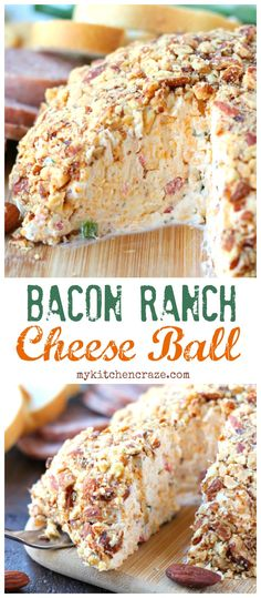 Need a quick appetizer for that upcoming party or just because? Then you need to make this Easy Cheese Ball with bacon, ranch, and almonds. Perfect with crackers and meats. This appetizer will be a hi (Cheese Ball) Quick Appetizers, Finger Food Appetizers, Appetizer Dips, Appetizers For Party, Appetizer Recipes, Party Snacks, Snack Recipes, Fruit Appetizers, Chicken Appetizers