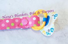 Pacifier Clip / Pink with green pink & white by NanasBlanketsBibs