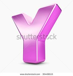 3d pink purple metal letter Y isolated white background