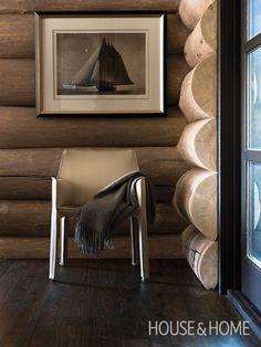 Wood-Lined Room | Designer Douglas Cridland | Photographer Jean Longpré | #wood #natural #logcabin