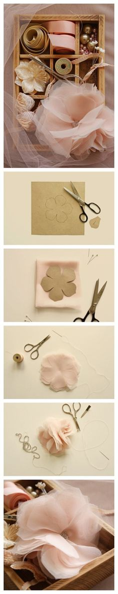 Shabby Chic Flower - DIY handmade flowers from chiffon or other sheer fabric