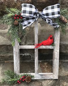 Window Decorations for Christmas : Farmhouse Christmas Decor Christmas Decorated Window Pane Winter Window Pane Decor Christmas Window Frame Rustic Wooden Window PaneHandcrafted, heavy barnwood four pane window frame piece is dressed for the holidays Farmhouse Christmas Decor, Christmas Wood, Outdoor Christmas, Christmas Projects, Winter Christmas, Reindeer Christmas, Christmas Ideas, Christmas Cookies, Buffalo Check Christmas Decor