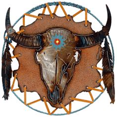Things I love and want for my home Western Wall Decor, Western Art, Cow Skull, Dream Catcher, Mosaic, Lion Sculpture, Clock, Crafts, Paper Mache