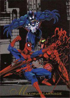 Maximum Carnage-Pepsi Cards  El ataque mas sangriento en la historia de la ciudad de Nueva York fue cometido por el múltiple asesino Carnage. este predominio del terror también planteo uno de los mas grandes dilemas del asombroso Hombre Araña: una difícil alianza con su archirrival Venom. El Hombre Araña y Venom derrotaron a la Banda de Carnage, evitando que miles de vidas inocentes cayeran presa de su locura.