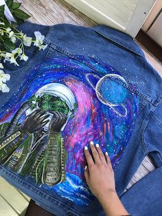 Hand painted denim jacket with celestial starry night cosmos (please read the de. - Hand painted denim jacket with celestial starry night cosmos (please read the description) - Painted Denim Jacket, Painted Jeans, Painted Clothes, Hand Painted, Denim Paint, Diy Clothing, Custom Clothes, Space Clothing, Denim Kunst