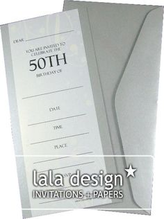 Silver flourish 50th birthday invitation