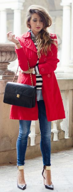 Red coat with striped shirt and gold metal plate ankle heels