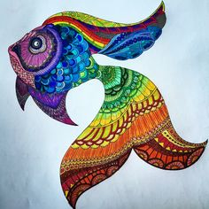 More adult coloring! Lost Ocean by Johanna Basford. Rainbow fish made with #prismacolor colored pencils.