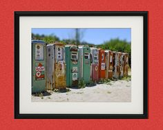 Wild West Photography,Vintage,Wall Art,Room Decor,Dorm Decor,Large Art Print,Fine Art,Kitsch,Retro,Children's Art,Gas Pumps,Art,Perspective,    Fine art photographic print in the 'WILD WEST - Modern Retro' series, taken by me (Toula Mavridou-Messer) in the Wild West (California, Nevada, Utah, Arizona, Colorado, New Mexico), USA.    MEDIUM: Fine art photo print signed by the artist*   SIZE: 5 x7, 8x10, 11x14, 16x20 or 20x30 inches** (May have a small white border depending on size of print…