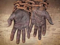 Depiction of a shackled slave: these hands tell a million stories