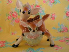 ON HOLD....Vintage Ceramic Mamma And Baby Deer Salt and Pepper Shakers...Perfectly Adorable on Etsy, $46.00