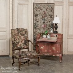 Antique Furniture   19th Century Baroque Armchair with Needlepoint Upholstery   www.inessa.com