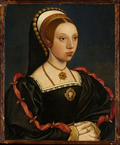 """'Portrait of a Young Woman in the style of Hans Holbein the Younger' ~ showing the sitter wearing a 'French Hood'.  The French hood is characterized by a rounded shape, contrasted with the angular """"English"""" or gable hood. It is worn over a coif, and has a black veil attached to the back. It was introduced to England primarily by Anne Boleyn, who had been raised in France. Its use was thus subsequently rejected by Anne's successor, Jane Seymour, but returned to fashion after Jane's death."""