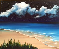 """Cosmic Sea"" acrylic painting by Jonna Wormald for Paint Nite"