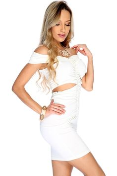 4022d1fd14b White Sleeveless Style Cutout Sexy Party Dress