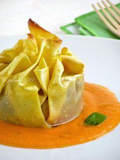 Fagottino di lasagna con melanzane e scamorza