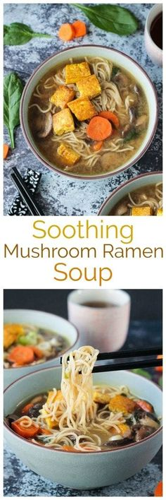 Soothing Mushroom Ramen Soup with Crispy Tofu - rich and deeply flavored Asian-style mushroom ramen soup that takes just 30 minutes. This crispy tofu is the BEST! Total comfort food! #vegan #soup #mushrooms #ramen #dairyfree #comfortfood #tofu