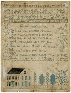 Massachusetts or New Hampshire 1812. This reminds me a lot of the Maria Selby Humphrey's sampler that Blackbird Designs reproduced. (See my pin nearby.)