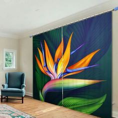 Decorate your room in a new style with murphy bed plans Abstract Flowers, Abstract Art, Floor Murals, Murphy Bed Plans, Tropical Art, Decorate Your Room, Drapes Curtains, American Art, Flower Art