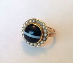Gold Victorian Agate and Seed Pearl Ring by DecemberAnchor on Etsy