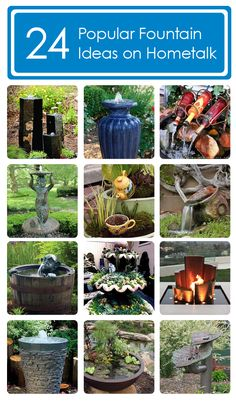 Fountain Ideas Idea Box by The Hometalk Team Ideas for you Miss Blair! Xx 24 delightful fountain ideas curated on Hometalk! Diy Water Fountain, Fountain Ideas, Wine Bottle Fountain, Outdoor Projects, Garden Projects, Outdoor Ideas, Lawn And Garden, Garden Art, Garden Fountains