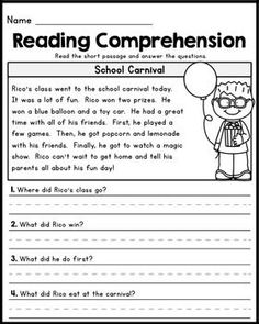 Free First Grade Reading Comprehension Pages Set 1