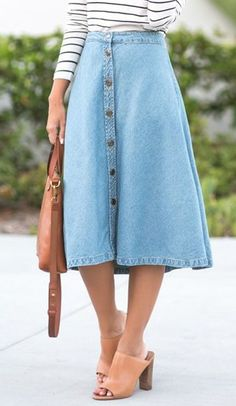 Denim midi flare skirt