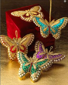 Four Butterfly Holiday Ornaments