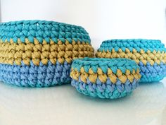 Set of three MULTICOLOR crocheted BASKETS/containers by Quembec