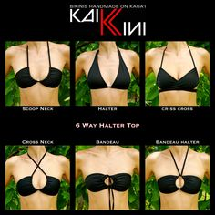 6 ways to wear a classic regular triangle bikini top. Who Knew! I don't think I'll ever get back into a bikini but good to know! Bandeau Bikini Tops, Halter Tops, Haut Bikini, The Bikini, Bikini Mayo, Bikini Beach, Bikini Bottoms, Looks Style, Looks Cool