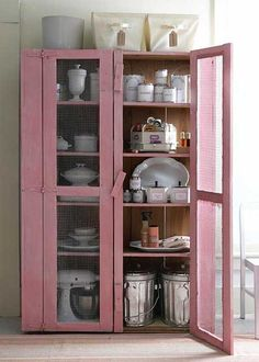 Vintage Distressed Pink using Minwax Stain Kitchen Organization Pantry, Kitchen Pantry, Order Kitchen, Kitchen Storage, Pantry Cupboard, Organized Pantry, Pantry Closet, Kitchen Craft, Big Kitchen