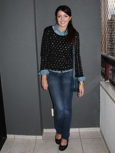 camisa jeans + sweater