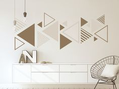 Beige living ideas – natural colors for living Modern wall sticker decoration – triangles in beige Have you ever ever put forward the question exactly what are the different types of interior planning. Wall Painting Living Room, Wall Painting Decor, Mural Wall Art, Bedroom Wall Designs, Wall Decor Design, Creative Wall Painting, Creative Walls, Modern Wall Stickers, Wall Stencil Patterns